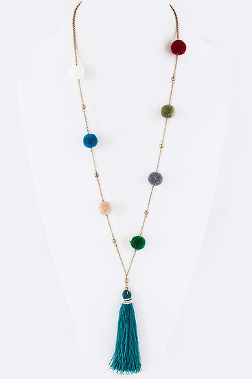 Plush PomPom and Tassel Necklace Green