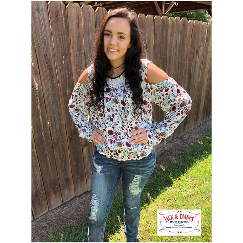 f0e9acffb8554e Rock   Roll Cowgirl Cold Shoulder Red White and Blue Flowers
