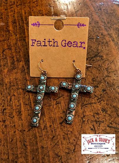Faith Gear Women's Earrings Copper Crosses