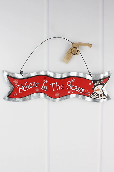 Believe In The Season Wood and Metal Wall Banner