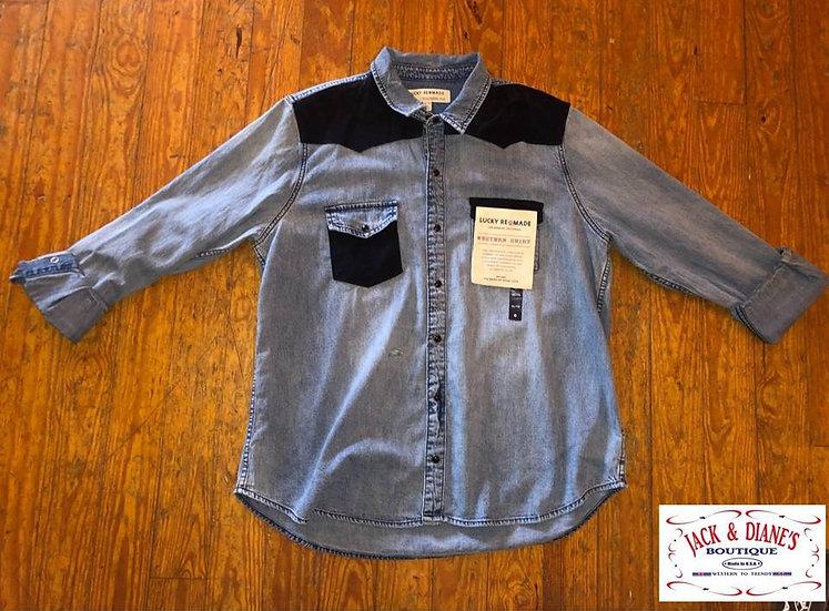 Lucky Brand Remade Western Shirt Mixed Blue Snap Long Sleeve