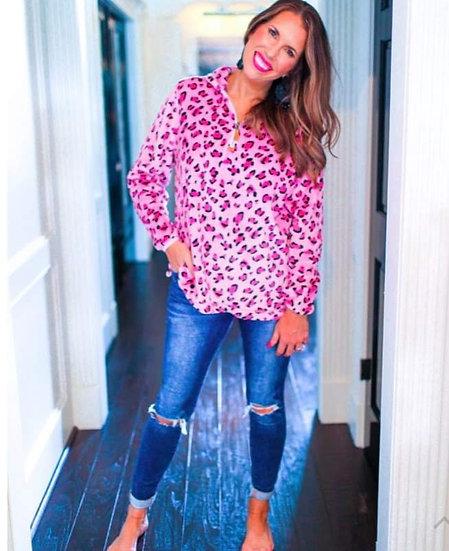 Pink Leopard 1/4 zip Pullover