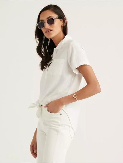 Lucky Brand Tie Front Short Sleeve Shirt