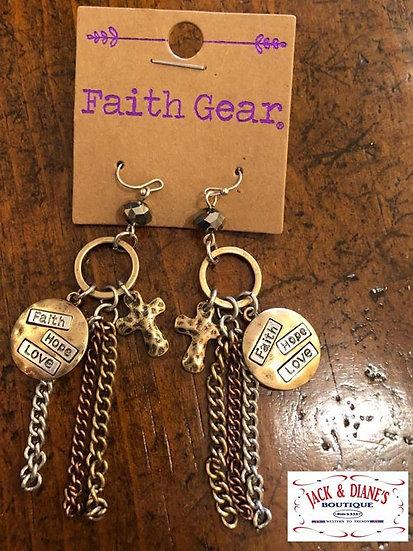 Faith Gear Women's Earrings Tassel Crosses
