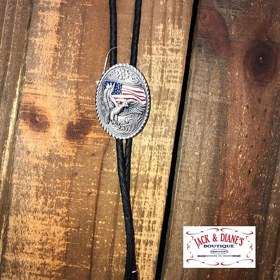 Bolo Tie Leather Strap with Eagle and American Flag Silver