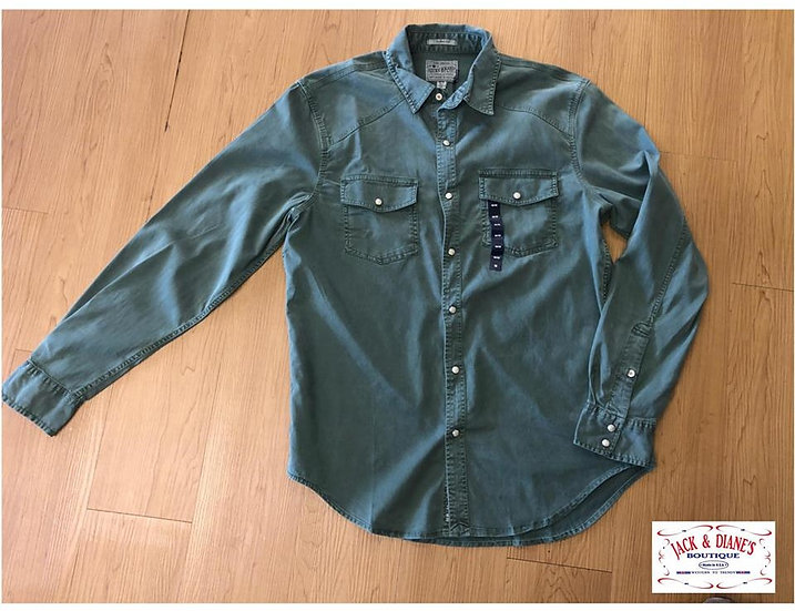 Lucky Brand LS Workwear Western Pearl snap Army Green Long Sleeve