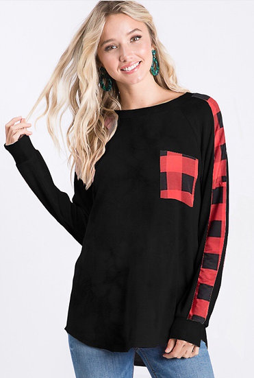 Black Long Sleeve with Plaid Top