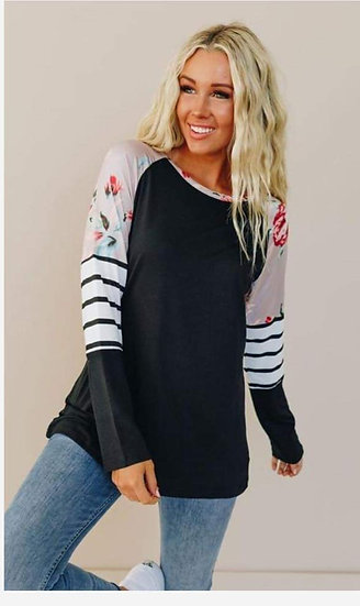 Long Sleeve Black Striped Floral Top