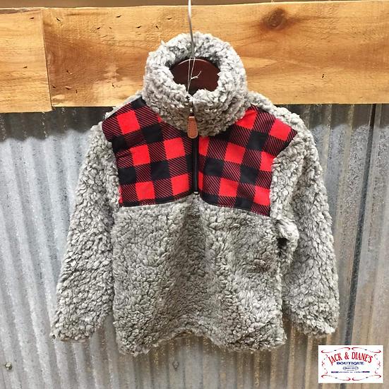 Kids Sherpa Buffalo Print with 3/4 Zipper Pullover