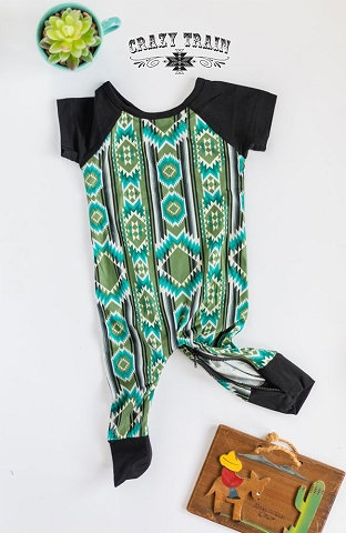 Crazy Train Cow Catcher Playdate Jumper Olive Turquoise Aztec with Black Sleeves