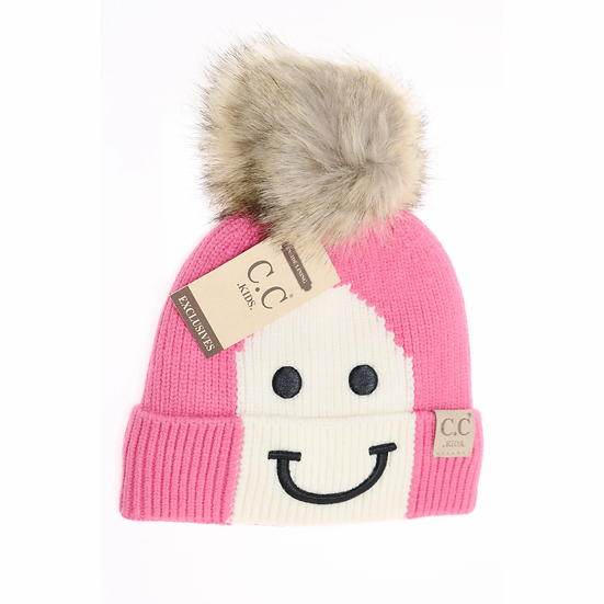 C.C Smiling Lined Fur Pom Beanie