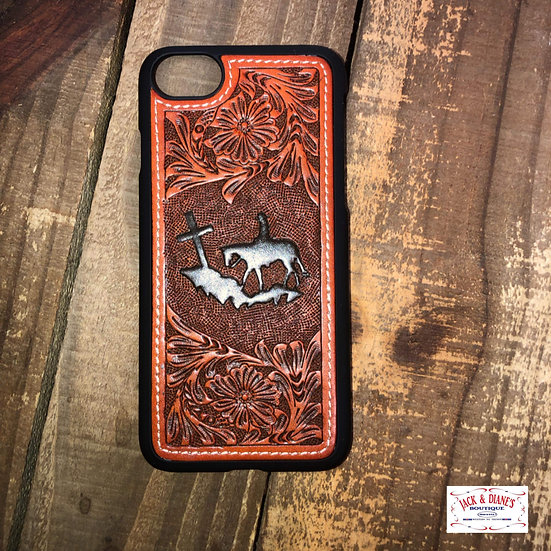 3D Leather iPhone 8 Snap On Phone Case