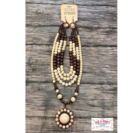 Silver Strike Women's Jewelry Necklace Earrings Set Beaded Copper White