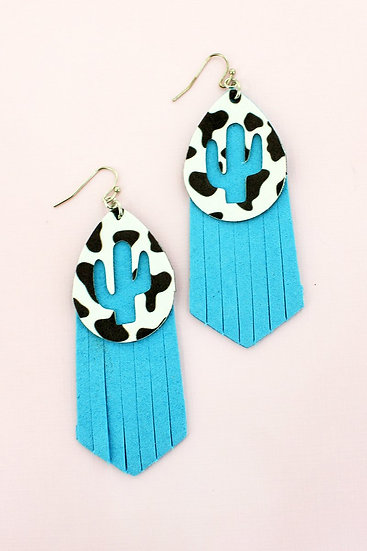 CUT OUT CACTUS COW AND TURQUOISE FAUX LEATHER LAYERED EARRINGS