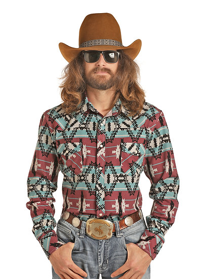 DALE BRISBY BY ROCK AND ROLL COWBOY ENZYME WASHED PRINTED AZTEC
