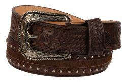 B39 - RockinLeather Cowhair Belt W/ Hand Tooled Overlay