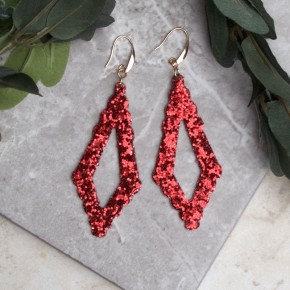 Sparkling Chandelier Earring Red