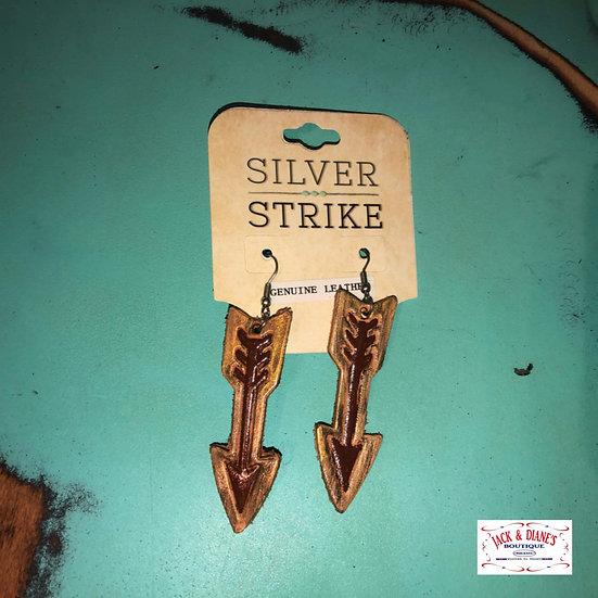 Silver Strike Leather Painted Arrow Earrings