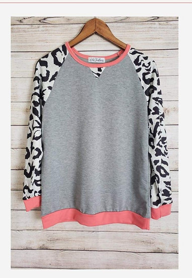 Heather Grey with leopard Long Sleeves and Pink Trim Sweatshirt