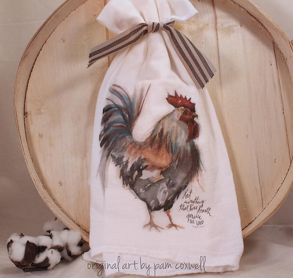 From The Heart Art Rooster Flour Sack Towel & 4x4 Tile
