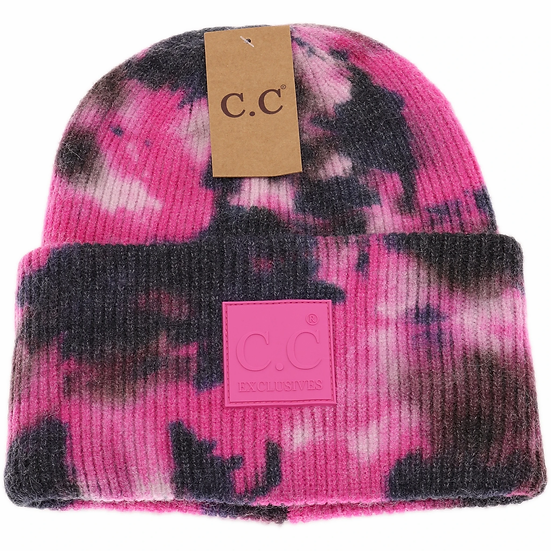 C.C Tie Dye Beanie with Rubber Patch
