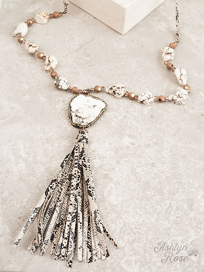 Rock The Look Snakeskin Tassel Necklace with a White Chunky Stone