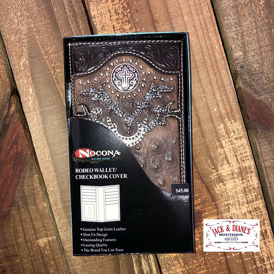 Nocona Light brown and Dark Brown Leather and Silver Cross Concho