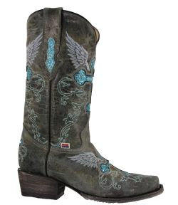 2130 - RockinLeather Womens Blue Crater Western Boot With Narrow Square Toe