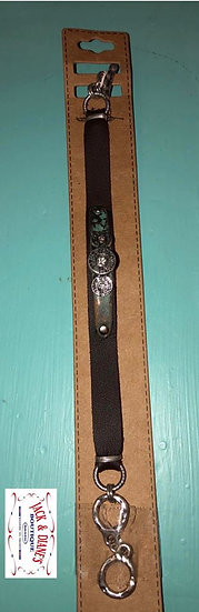 Adjustable Leather Bracelet with Sivler and Patina Shells and Crystals