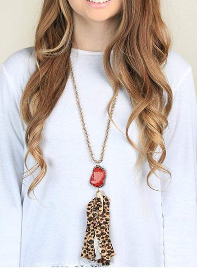 Country Girl Leopard Tassel Necklace