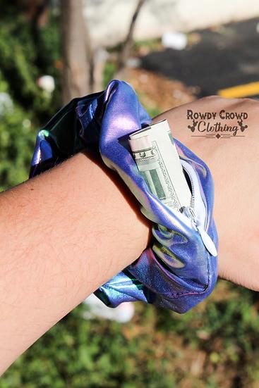 Rowdy Crowd Aquamarine Pocket Scrunchie