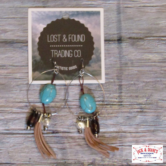 Lost and Found Hoops with Turquoise Stones and Tassel