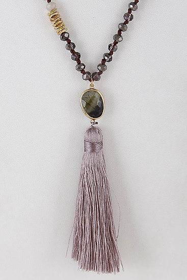Womens Fringe Necklaces with Gold Lined Stones