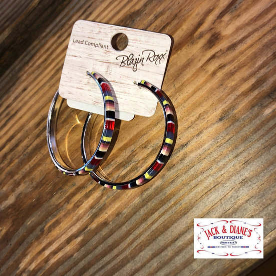 Blazin Roxx Serape Stripe Hoops Earrings