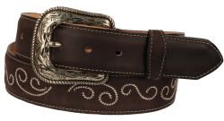 B31 - RockinLeather Crazy Mocha Cowhide Leather Belt W/ Scroll