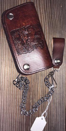 Western Express Brown Leather Deer Biker Wallet