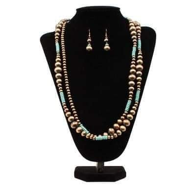 Blazin Roxx Copper with Turquoise Beads Necklace & Earrings Set