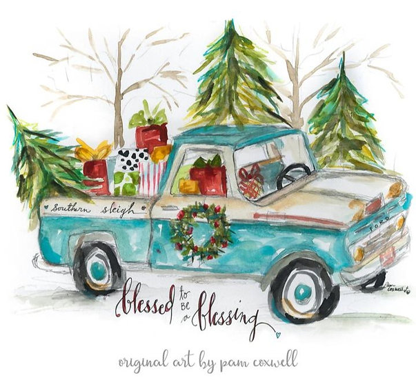 From The Heart Art Christmas Truck Flour Sack Towel & Christmas Cards