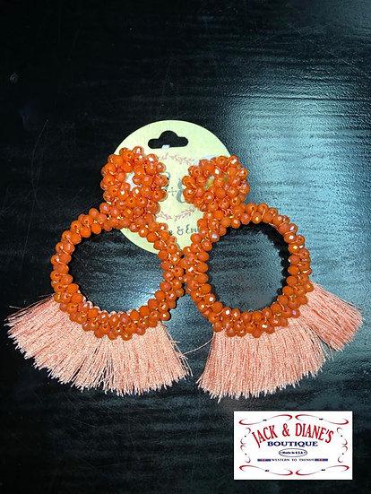 Full Of Flair Beaded Fringe Earrings Peach