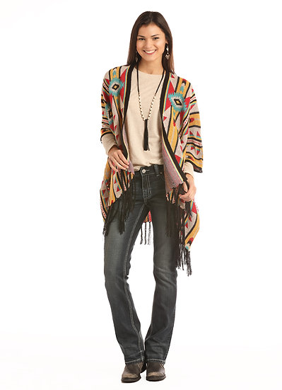 ROCK & ROLL COWGIRL JUNIORS KNITTED AZTEC PONCHO WITH FRINGE AT BOTTOM HEM