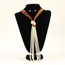 Blazin Roxx Pearls Knot Necklace Set, Tan - 23.50 to 26.50 in.