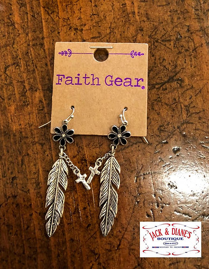 Faith Gear Women's Earrings Flower Feather