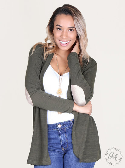 Hazel's Comfort Cardigan with Shimmer Elbow Patches, Olive