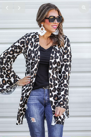 Leopard Print Bell Sleeve Cardigan