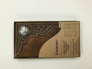 Ariat Distressed Brown Concho Rodeo Wallet / Checkbook Cover