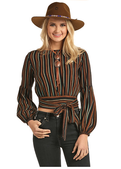 Rock & Roll Cowgirl CROPPED BLOUSE WITH STRIPES AND SMO