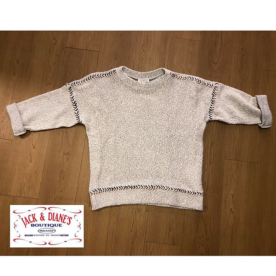 Lucky Brand Natural Multi Embroidered Pull Over