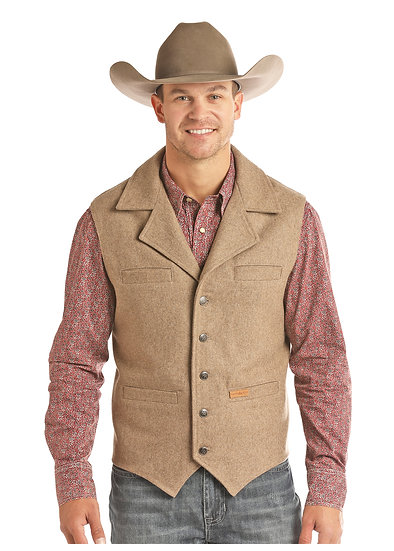 POWDER RIVER OUTFITTERS MEN'S SOLID WOOL HEATHER VEST