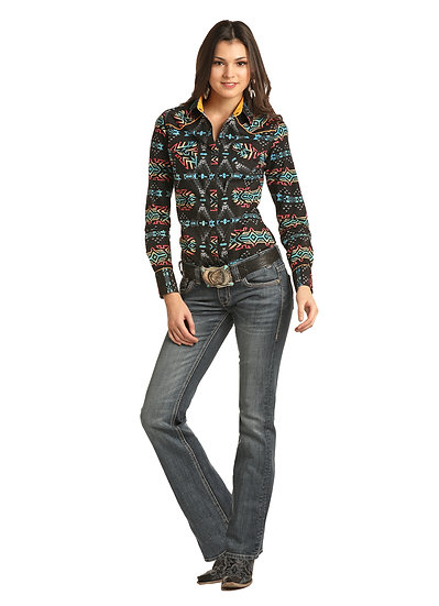 ROCK & ROLL COWGIRL JUNIORS CORE SNAP SHIRT IN AZTEC