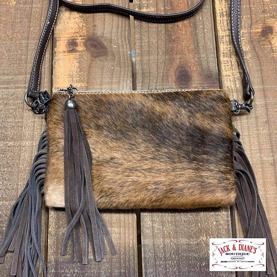 Unique Beautiful Cowhide Purse with side Tassels and Tassel Zipper
